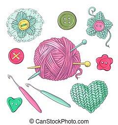 conjunto, tejido de punto, drawing., clew, ilustración, mano, tejido, vector, needles., ropa