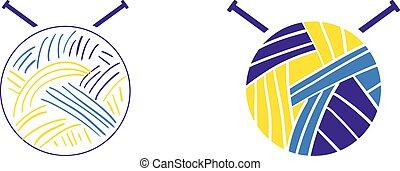 conjunto, tejido de punto, empresa / negocio, sitio, hilo, arte, relacionado, logotipo, agujas, o