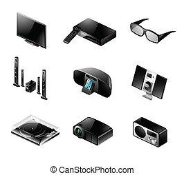 conjunto, televisión, -, electrónica, audio, icono