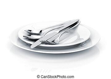 conjunto, tenedor, cubiertos, cucharas, cubertería, placas, o, cuchillo