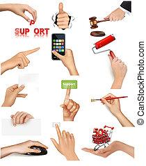 conjunto, tenencia, objetos, manos
