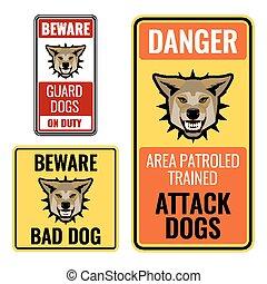 conjunto, tenga cuidado, perro, ilustración, malo, vector, señales, pegatinas