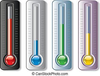 conjunto, termómetros