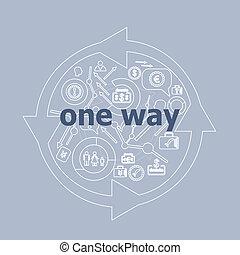 conjunto, texto, uno, icono, way., concepto, empresa / ...