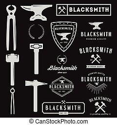 conjunto, tipográfico, logotype, herrero, elementos, diseño...