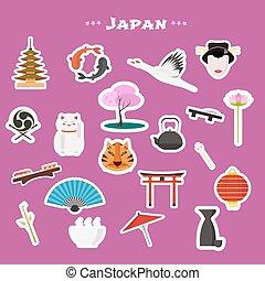 conjunto, tokio, iconos de viajar, vector, japón