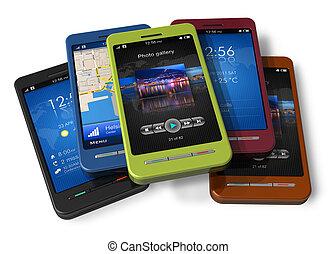 conjunto, touchscreen, smartphones