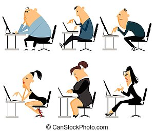 conjunto, trabajador, seis, oficina