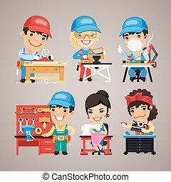 conjunto, trabajadores, trabajo, escritorios, su, caricatura
