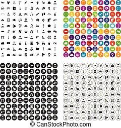 conjunto, trabajando, iconos, variante, vector, 100, clase