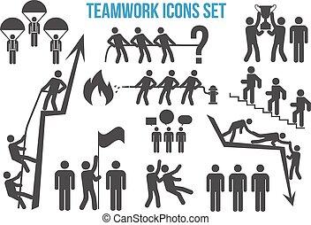 conjunto, trabajo en equipo, iconos