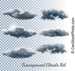 conjunto, transparente, clouds.