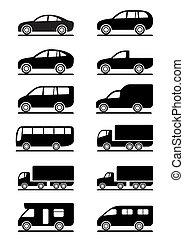 conjunto, transporte, camino, iconos