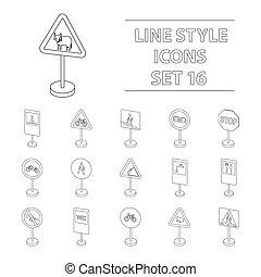 conjunto, transporte, contorno, iconos, grande, símbolo, colección, vector, ilustración, style., acción