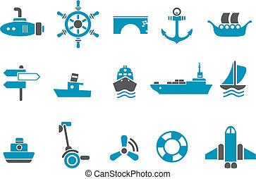 conjunto, transporte, icono