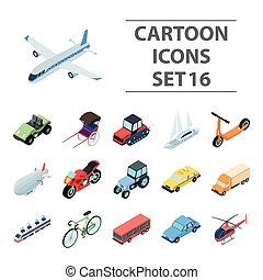 conjunto, transporte, iconos, grande, símbolo, colección, style., vector, ilustración, caricatura, acción