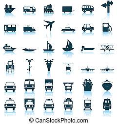 conjunto, transporte, iconos