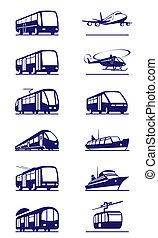 conjunto, transporte, público, icono