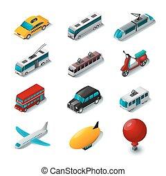 conjunto, transporte público, iconos