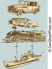 conjunto, transporte, retro