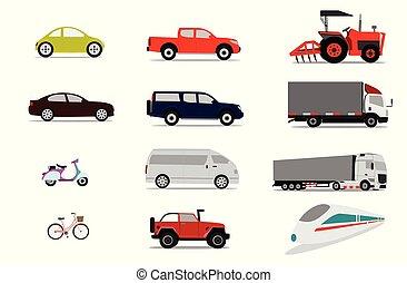 conjunto, transporte, vehículos, colección, fondo blanco