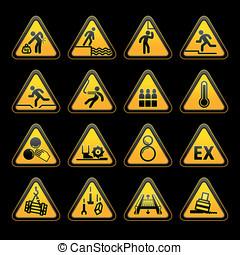 conjunto, triangular, advertencia, sumbols, peligro, señales
