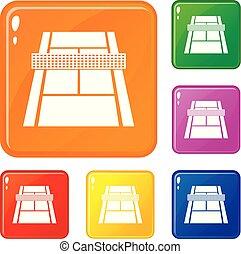 conjunto, tribunal, iconos, color, tenis, vector