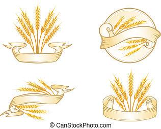 conjunto, trigo, etiqueta