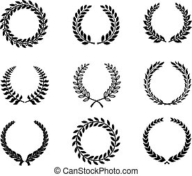 conjunto, trigo, foliate, coronas, laurel, silueta, circular