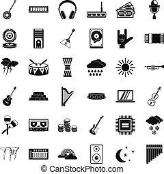 conjunto, trueno, estilo, iconos simples