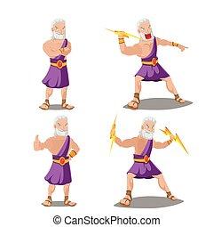 conjunto, trueno, griego, vector, dioses, caricatura