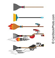 conjunto, turbo., evolution., escoba, halloween, vector, bruja, exceso de velocidad, escoba, tecnología, illustration.