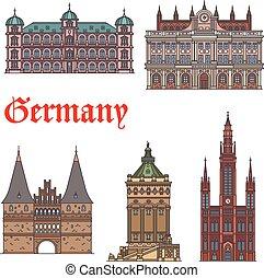 conjunto, turista, alemán, viaje, vista, señal, icono