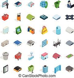 conjunto, urbano, isométrico, estilo, iconos