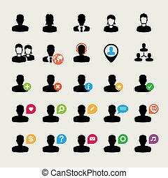 conjunto, usuario, iconos