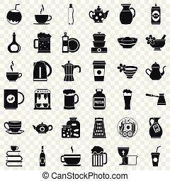 conjunto, utencil, estilo, iconos simples