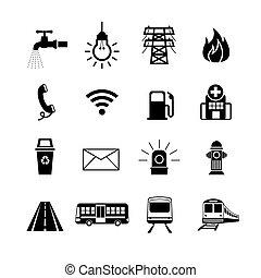 conjunto, utilidad, silueta, público, iconos
