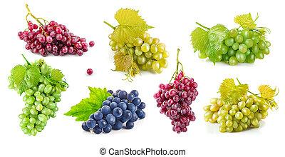 conjunto, uva, con, hojas verdes, sano, eating.