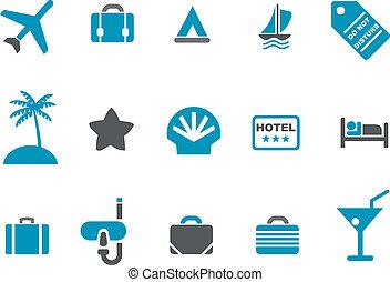 conjunto, vacaciones, icono