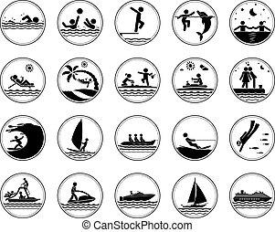 conjunto, vacaciones, mar, iconos