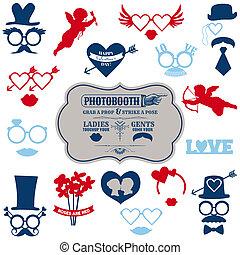conjunto, valentino, anteojos, labios, -, máscaras, vector, bigotes, photobooth, accesorios, sombreros partido, día