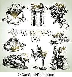 conjunto, valentino, mano, day., ilustraciones, dibujado