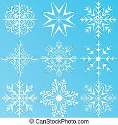 conjunto, variación, copos de nieve, aislado