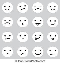 conjunto, variedad, doodled, caras, expresiones, caricatura