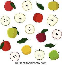 conjunto, vario, manzanas