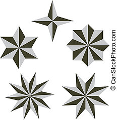 conjunto, vector, 3d, estrella, ilustración