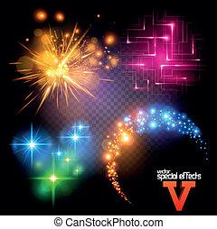 conjunto, vector, 5, efectos, especial