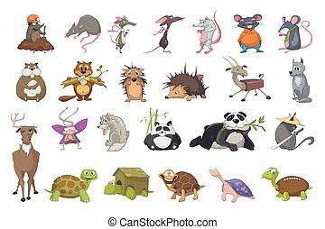 conjunto, vector, animales, illustrations.