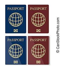 conjunto, vector, biometric, pasaportes