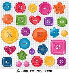 conjunto, vector, coloreado, botones